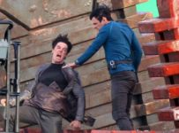 Star Trek 2 set - Quinto and Cumberbatch
