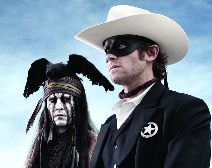 The Lone Ranger - Tonto (Johnny Depp) and John Reid (Armie Hammer)