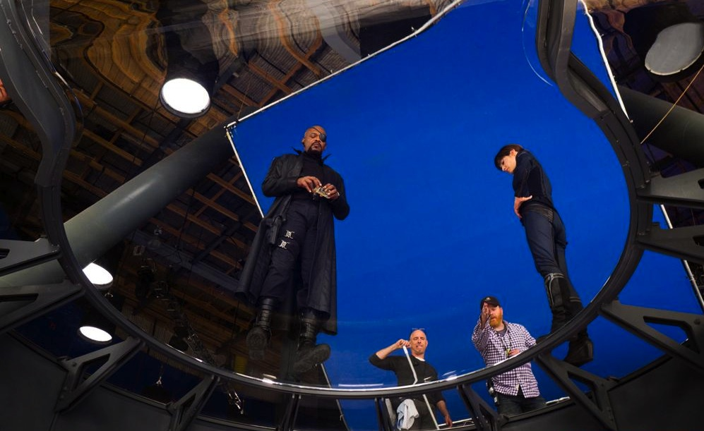 Samuel L. Jackson and Cobie Smulders on set of Marvel's THE AVENGERS.