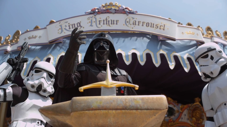 Darth Vader in Disneyland with Stormtroopers