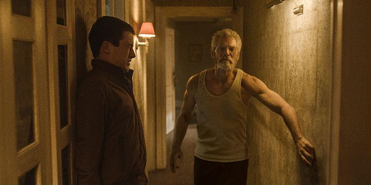Dylan Minnette (left) and Stephen Lang star in Screen Gems' horror-thriller DON'T BREATHE.