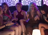 (L to R) Frankie (Illana Grazer), Alice (Jillian Bell), Jess (Scarlett Johansson), Pippa (Kate McKinnon) and Blair (Zoë Kravitz) in Columbia Pictures' ROUGH NIGHT.