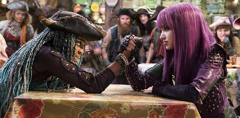 """DESCENDANTS 2 - """"Day 30"""" - A far-reaching, unprecedented and simultaneous premiere has been set for the Disney Channel Original Movie """"Descendants 2"""" across five networks within the Disney ABC Television Group, FRIDAY, JULY 21 (8:00 p.m. ET/PT), on Disney Channel, ABC, Disney XD, Freeform and Lifetime. (Disney Channel/David Bukach) CHINA ANNE MCCLAIN, DOVE CAMERON"""