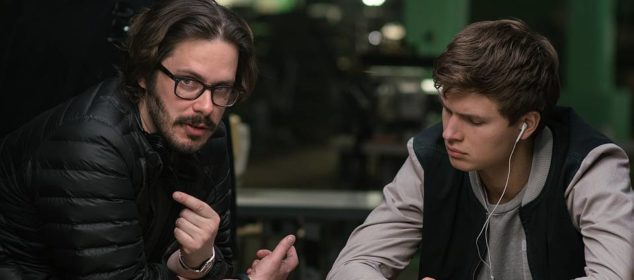 Edgar Wright on the set of Baby Driver