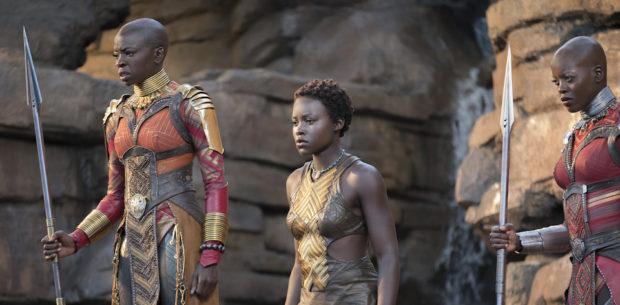 Marvel Studios' BLACK PANTHER..L to R: Okoye (Danai Gurira), Nakia (Lupita Nyong'o), and Ayo (Florence Kasumba)..Ph: Matt Kennedy..©Marvel Studios 2018